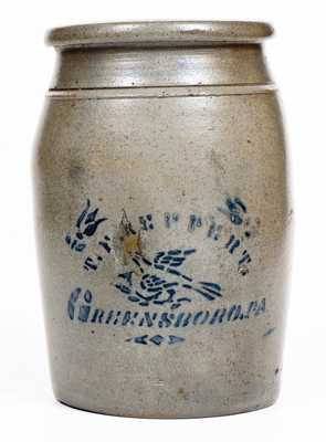 T. F. REPPERT / GREENSBORO, PA Stoneware Canning Jar with Stenciled Bird