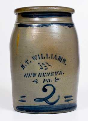 2 Gal. R. T. WILLIAMS / NEW GENEVA, PA Stoneware Jar