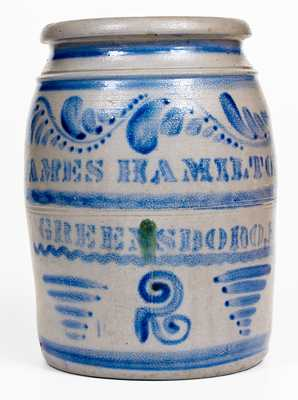 JAMES HAMILTON & CO. / GREENSBORO, PA Stoneware Jar w/ Profuse Freehand Decoration