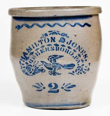 2 Gal. HAMILTON & JONES / GREENSBORO, PA Stoneware Cream Jar w/ Stenciled Bird