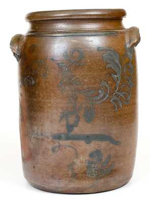 3 Gal. Stoneware Jar with Freehand Decoration att. D. G. Thompson, Morgantown, WV