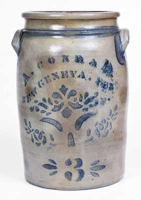 3 Gal. A. CONRAD / NEW GENEVA, PA Stoneware Jar with Stenciled Decoration