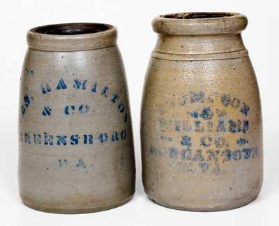 Lot of Two: MORGANTOWN, W. VA and GREENSBORO, PA Stoneware Canning Jars