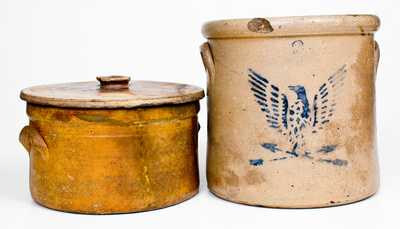 Lot of Three, Including Rare E. D. STOW & CO. / PHILADELPHIA Stoneware Lid and Eagle Crock