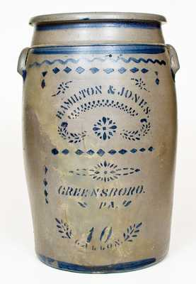 10 Gal. HAMILTON & JONES / GREENSBORO, PA Stoneware Jar w/ Stenciled Decoration
