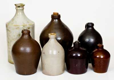 Lot of Seven: Stoneware Jugs incl. ROYCROFT and R. C. P. CO. Examples