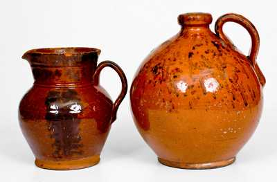 Lot of Two: Redware Jug and Pitcher with Manganese Decoration