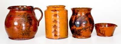 Lot of Four: Pennsylvania Redware Vessels with Manganese Decoration