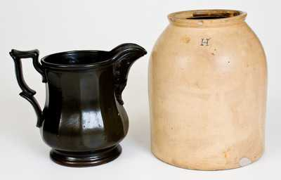 Lot of Two: J. T. WINSLOW / PORTLAND, ME Molded Pitcher, Stoneware Tobacco Jar