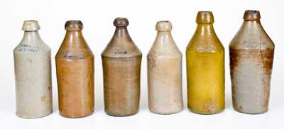 Lot of Six: Stoneware Soda Bottles with Impressed Names