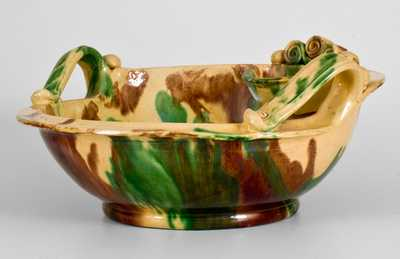 Shenandoah Valley Multi-Glazed Redware Pitcher and Bowl Set, att. J. Eberly, Strasburg