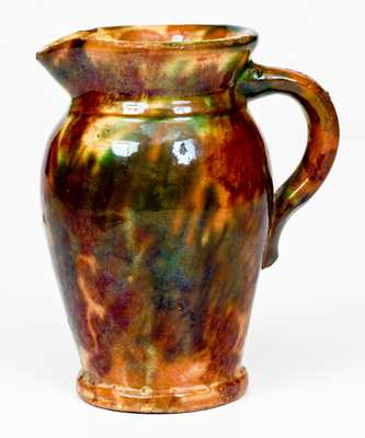 Shenandoah Valley Multi-Glazed Redware Cream Pitcher, att. to S. Bell & Sons, Strasburg