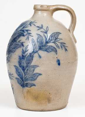 Exceptional New York Stoneware Jug w/ Elaborate Incised Bird and Floral Decoration