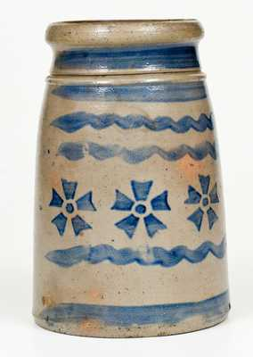 Rare Western PA Stoneware Canning Jar w/ Profuse Stenciled Pinwheel and Stripe Decoration