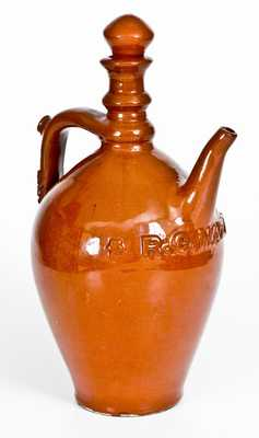 Rare Chicago Redware Ewer with Applied Name,