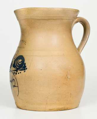 Rare WEST TROY, / POTTERY (NY) Six-Quart Stoneware Pitcher with 1882 Date