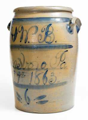 Rare and Important Boughner, Greensboro, PA 6 Gal. Stoneware Dated Presentation Crock