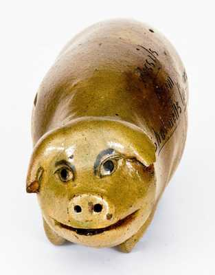 Unusual Anna Pottery Stoneware Pig Flask,