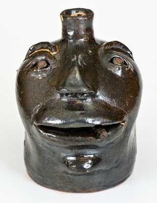 Very Unusual Stoneware Cigar-Smoking Face Jug, probably Brown Family, Atlanta