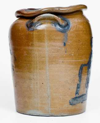 Extremely Rare Connellsville, PA Stoneware People Crock att. John Greenland, c1865-70