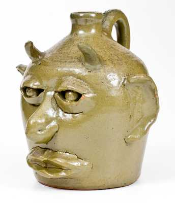 Extremely Rare Early Lanier Meaders Stoneware Devil Face Jug