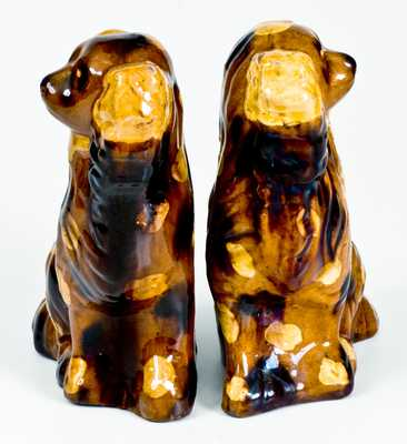 Fine Pair of Redware Spaniels with Yellow and Brown Splotches
