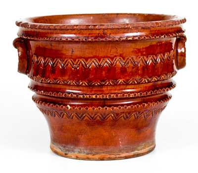 Outstanding Large-Sized Redware Flowerpot, probably Chester County, PA