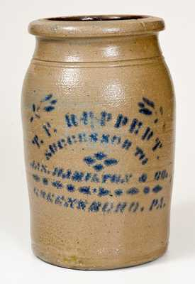 T. F. REPPERT / SUCCESSOR TO JAS. HAMILTON & CO. / GREENSBORO, PA Stoneware Jar
