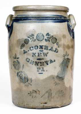 4 Gal. A. CONRAD / NEW GENEVA, PA Stoneware Jar with Stenciled Decoration