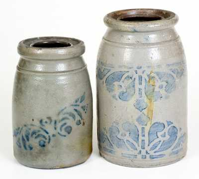 Lot of Two: Western PA Stoneware Jars with Stenciled Decorations