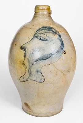 Fine Stoneware Jug w/ Large Folky Incised Man's Head Decoration, Northeastern US, c1800