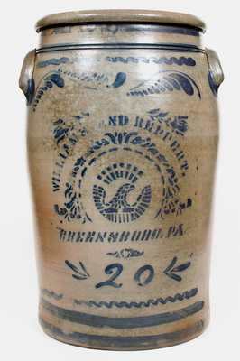 20 Gal. WILLIAMS & REPPERT / GREENSBORO, PA Stoneware Eagle Jar