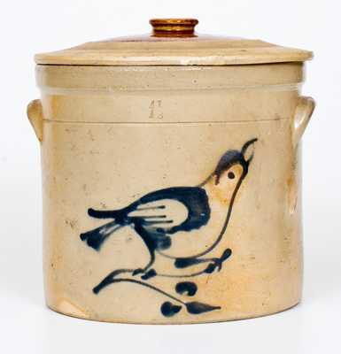 1 1/2 Gal. Stoneware Lidded Crock with Bird Decoration att. Fulper Pottery, Flemington, NJ