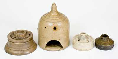 Lot of Four: Rare Stoneware Birdhouse and 3 Ornate Stoneware Inkwells