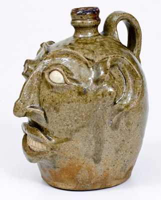 Rare and Important Large-Sized Edgefield, SC Stoneware Face Jug, c1845-65