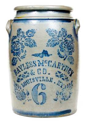Six-Gallon Bayless, McCarthey & Co. (Louisville, KY) Stoneware Jar