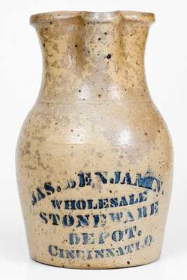 One-Gallon Stenciled Stoneware Pitcher, Cincinnati, Ohio, origin, circa 1875