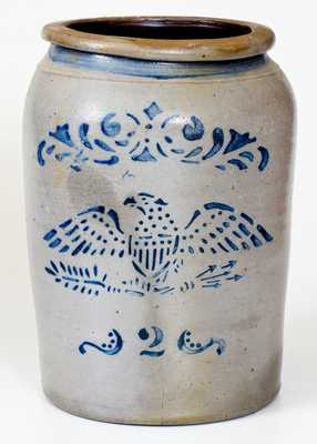 Two-Gallon Stephen H. Ward, West Brownsville, PA Stoneware Eagle Jar