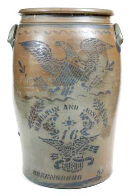 Rare 16-Gallon Hamilton & Jones / Greensboro, PA Stoneware Double Eagle Crock