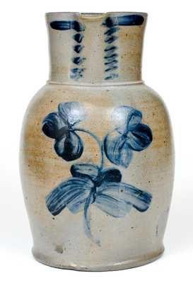 Two-Gallon Baltimore Stoneware Pitcher with Cobalt Clover Decoration