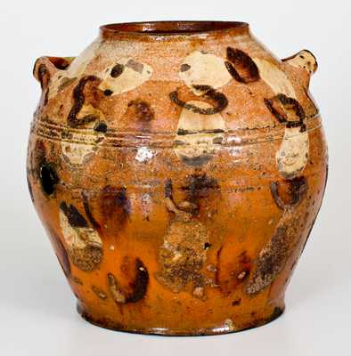 Extremely Rare Solomon Loy (Alamance Co, NC) Redware Sugar Pot w/ Two-Color Decoration, c1800-30