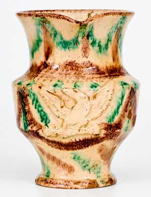 Extremely Rare Slip-Decorated Redware Federal Eagle Pitcher, possibly North Carolina Moravian, c1800