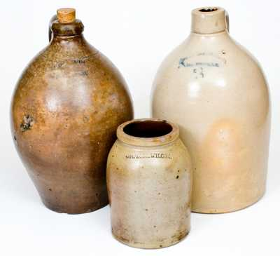 Lot of Three: Marked American Stoneware Vessels