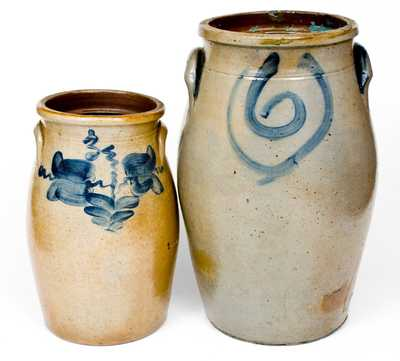 Lot of Two: Midwestern Stoneware Churns with Cobalt Decoration