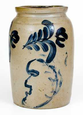 Exceptional Richard Remmey, Philadelphia Stoneware Jar w/ Man's Profile and Double Birds Motifs