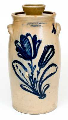 Elaborately-Decorated HARRINGTON & BURGER / ROCHESTER, NY Stoneware Churn