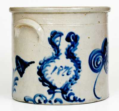 Rare Two-Gallon 1876 Stoneware Crock, possibly Frank B. Norton, Worcester, MA