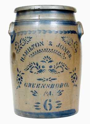 Six-Gallon HAMILTON & JONES. / GREENSBORO. / PA Stoneware Jar