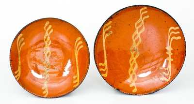 Two Slip-Decorated Redware Plates, Philadelphia origin, early to mid 19th century