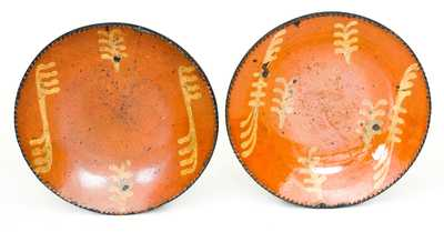 Two Slip-Decorated Redware Plates, Philadelphia, PA origin, early to mid 19th century